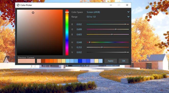 Панел за избор на цветове във V-Ray